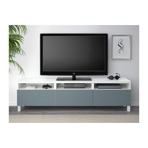 best banc tv avec tiroirs blanc valviken gris turquoise glissi re tiroir fermeture silence. Black Bedroom Furniture Sets. Home Design Ideas
