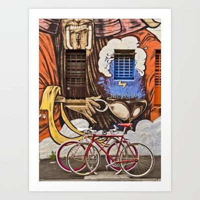 Seeing double (South Melbourne, 2012) Art Print by the writing photographer. - $17.00  #photography #bicycle #graffiti #street #art #fixie #fixed #gears #melbourne