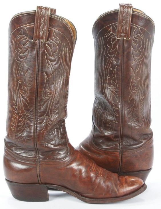 Vintage Tony Lama Marbled Brown Leather Cowboy Western Boots USA