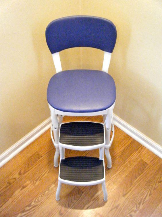 Heavy Duty Original Cosco Chair Step Stool Blue Amp White