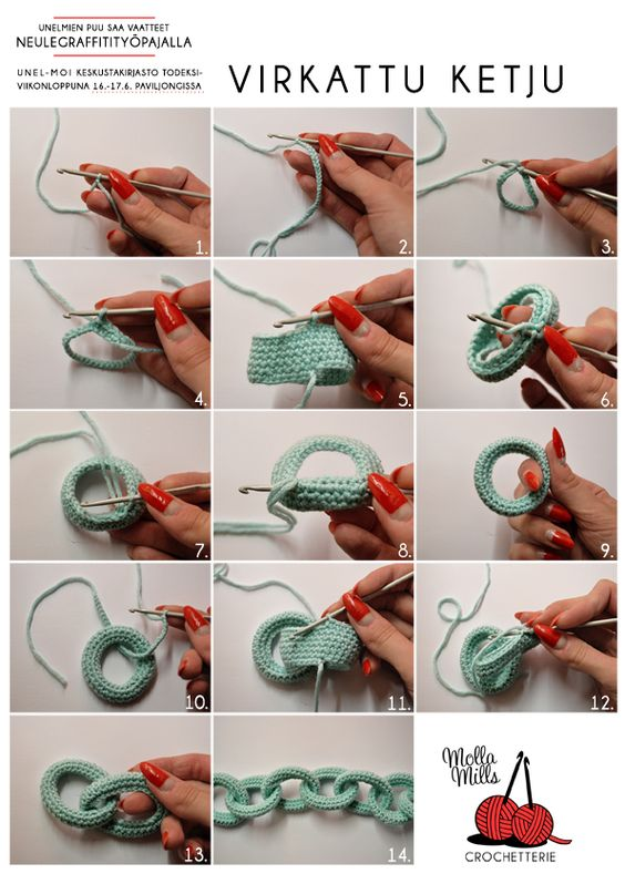 Crochet Chain - Tutorial: Crochet Stitches, Crochet Necklace, Crochet Tutorial, Crochet Pattern