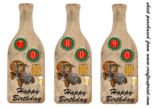 Happy Birthday Male Wine ~ Male age birthday bottle toppers by sharon poore male age