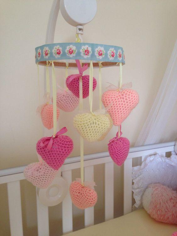 Homemade baby girl mobile girl nursery pinterest for Homemade crib mobile