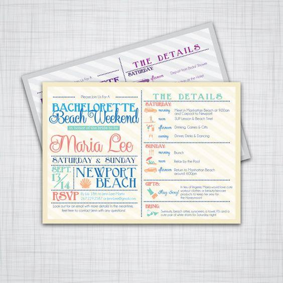 Bachelorette Getaway Ideas: Bachelorette Invitation- Weekend Getaway