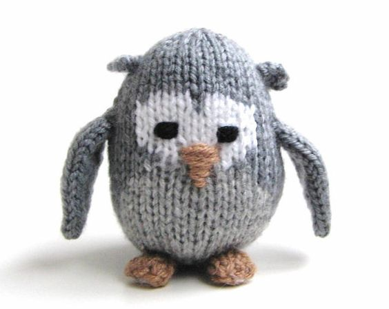 Knit Miniature Gray Owl Amigurumi Doll - Woodland Nursery Tiny Hand Knit Stuf...