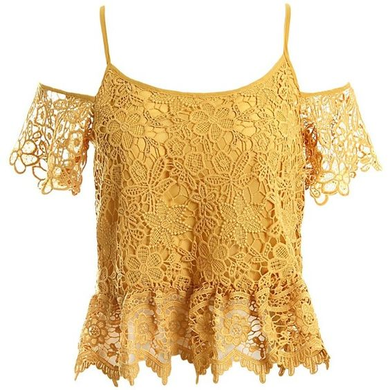 Sans Souci Lace cold shoulder peplum top (£26) ❤ liked on Polyvore featuring tops, mustard, mustard top, brown peplum top, open shoulder top, scallop top and floral tops
