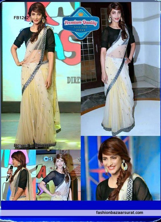 Shruti Haasan Bollywood Net Lehenga Style Saree
