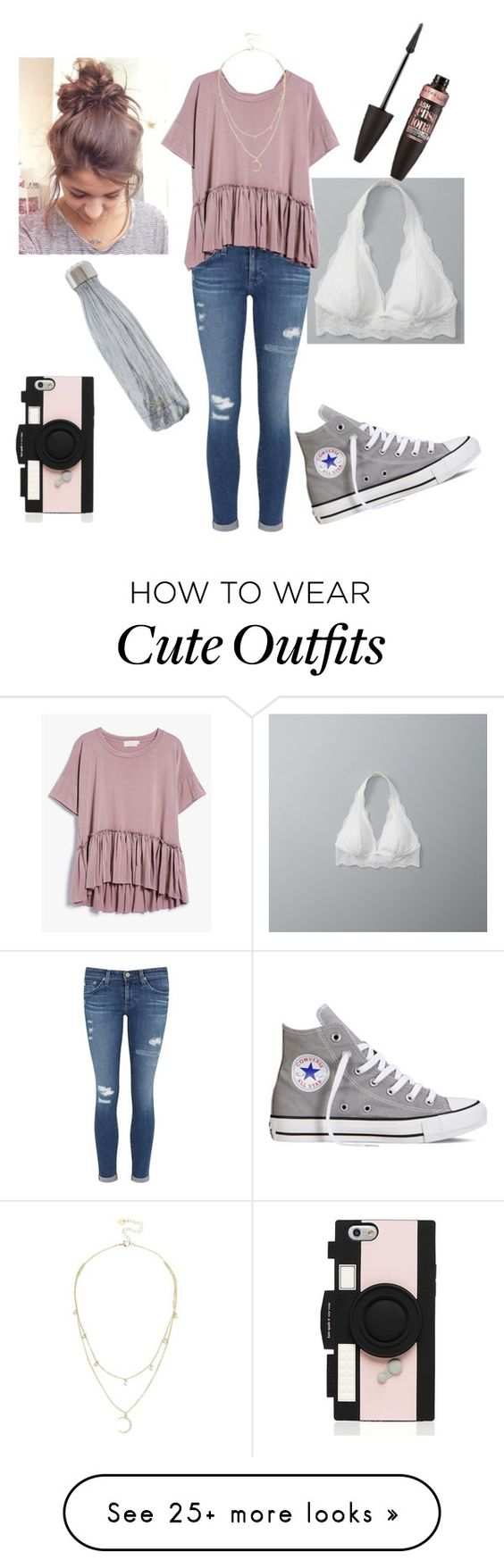 """School outfit #4"" by a-backlund on Polyvore featuring Abercrombie & Fitch, AG Adriano Goldschmied, Converse, S'well, Maybelline, Lipsy and Kate Spade"