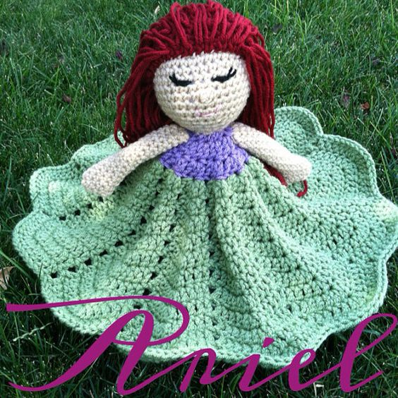 Crochet Pattern For Doll Blanket : Crochet security blanket lovey princess doll by ...