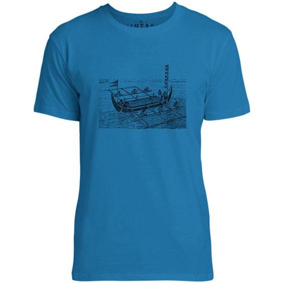 Mintage Vintage Victorian Boat Mens Fine Jersey T-Shirt (Cobalt)