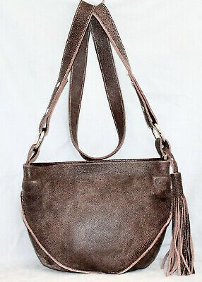 Linea Pelle Brown Distressed Leather Tassel Zip Crossbody Shoulder Bag Fashion Clothing Shoes Accessor Crossbody Shoulder Bag Leather Tassel Zip Crossbody