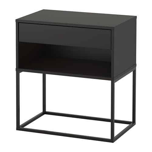 Vikhammer Nightstand Black 23 5 8x15 3 8 Nachttisch Schwarz