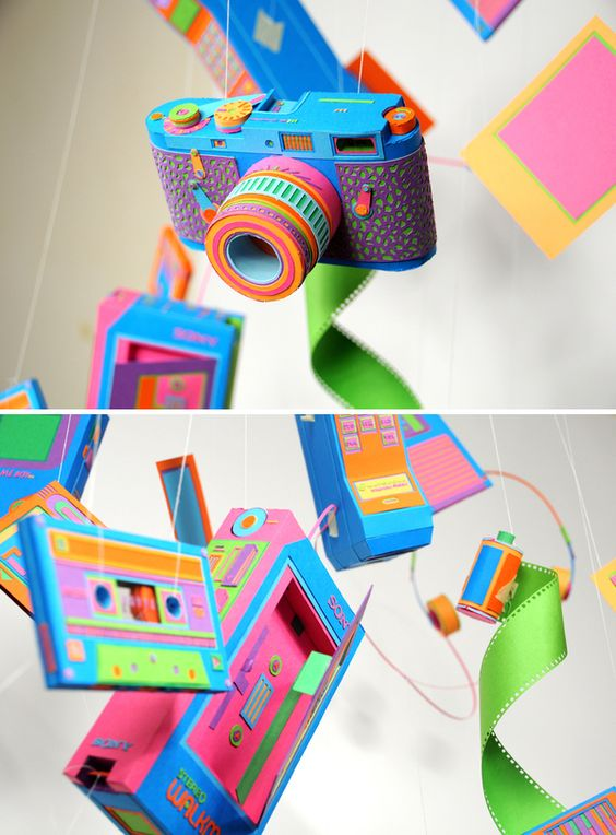 Killer hand-crafted and playfully-colorful creations based on old electronics. #retro #art