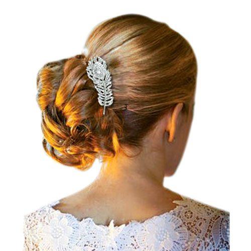 Ornement coiffure plume paon cristal peacock pour cheveux avec coiffure de mariage vintage ou - Coiffure pour soiree ...