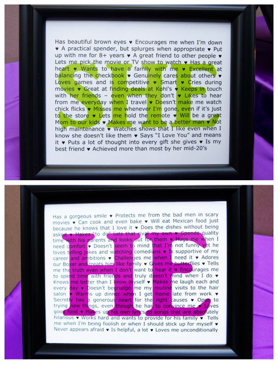 The groom writes all the things he loves about the bride, and she write all the things she loves about him! Perfect for the guest book table!...So cute!!!!