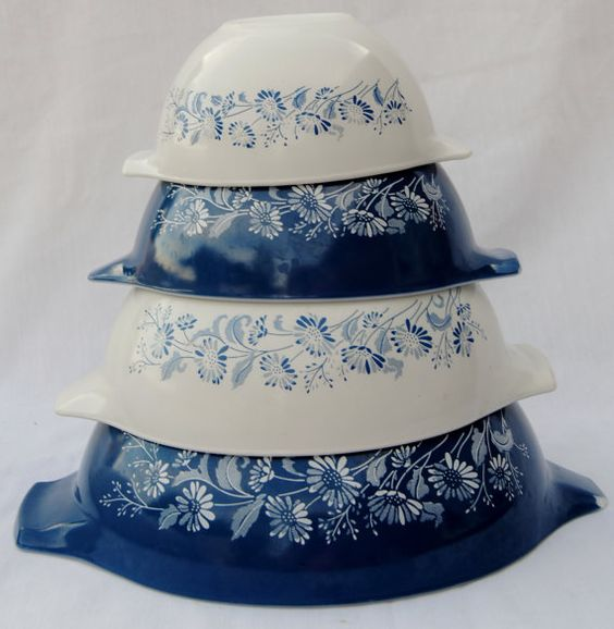 Pyrex bowl set Cinderella style in by GrandmaGingersCloset on Etsy, $50.00