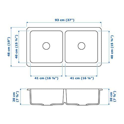 Havsen Evier A 2 Bacs Et Tablier Blanc 37x19 93x48 Cm Ikea Tablier Bac