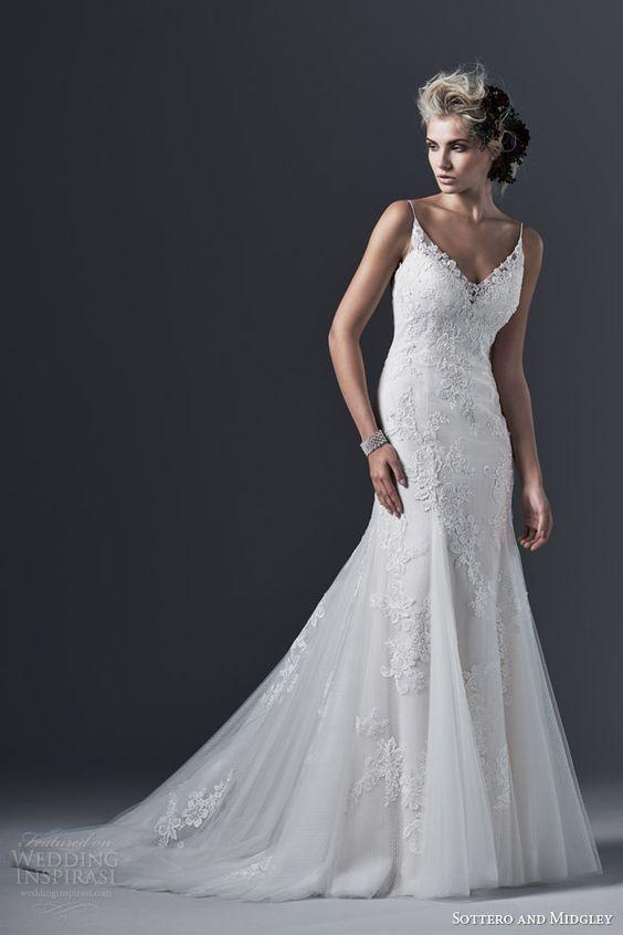 sottero and midgley bridal fall 2015 2016 sandrina sleeveless slim a line wedding dress spaghetti straps godet skirt