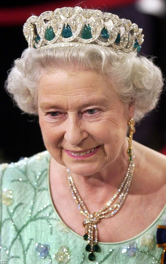 The Queen wears the Grand Duchess Vladimir tiara which is laden with history tracing back ...:
