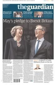 The Guardian (UK) Newspaper Front Page for 14 July 2016