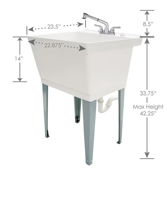 19 Gallon White Laundry Tub With Pull Out Faucet 6000 In 2020 Laundry Tubs Faucet White Laundry