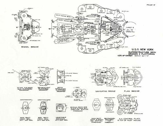 USS New York BB34 Inner Bottom Plans Drawings Blueprints   - best of blueprint detail crossword clue