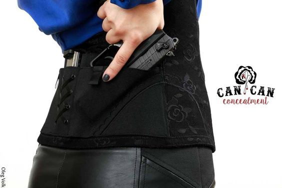 Can Can Concealment Corset Holster offers a secure kidney carry choice for concealing  firearms while slimming your waistline!  The extra low front tank styling seats comfortably under any bra. The corset is a great choice for career separates and will work inside or outside your waistband.  #concealedcarry #corset #sexy #lingerie #firearm #secondamendment #blackonblack #progun #vote #selfdefense #ccw #armedanddangerous #selfdefense #slimwear #trimyourtummy #shapewear