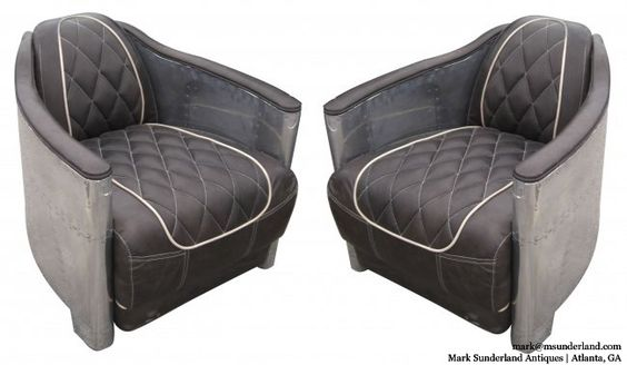 """PAIR of vintage aviator-inspired aluminum-wrapped leather armchairs, perhaps 1960s, bought in Europe.  TOO COOL FOR SCHOOL!!! Each 27"""" W x 35"""" D x 26""""H. $3800-pair: Vintage Aviator, Vintage Leather, Aluminum Wrapped, Wrapped Leather, 3800 Pair, Leather Armchairs, 1960S Bought, Aviator Inspired"""
