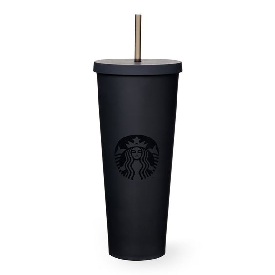 A sturdy, Venti-size plastic Cold Cup in matte black featuring a soft hand feel and reusable straw. $17