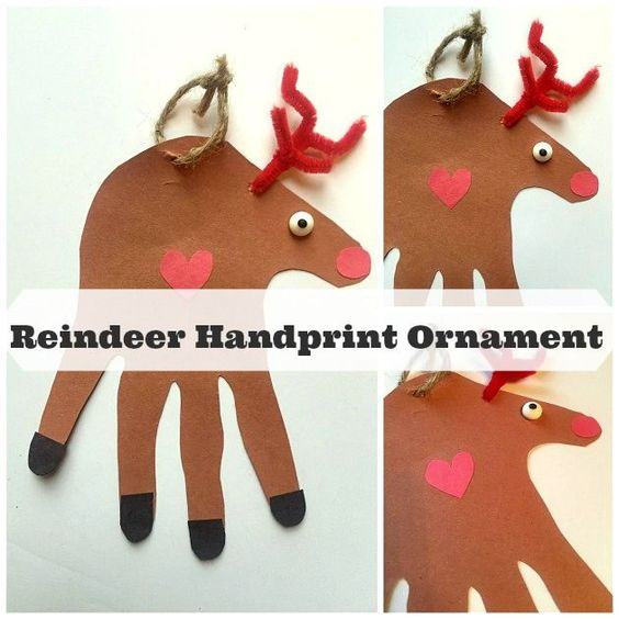 Reindeer Handprint Ornament- adorable craft for kids this Christmas.