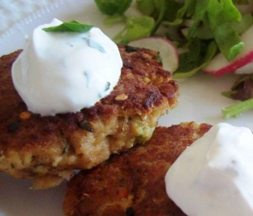 Mexican Style Salmon Cakes with Garlic-Herb Creme Fraiche (GAPS legal with raw dairy)