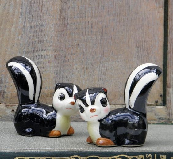 Antique Salt and Pepper Shakers | Vintage Skunk Salt and Pepper Shakers by untoldhours on Etsy