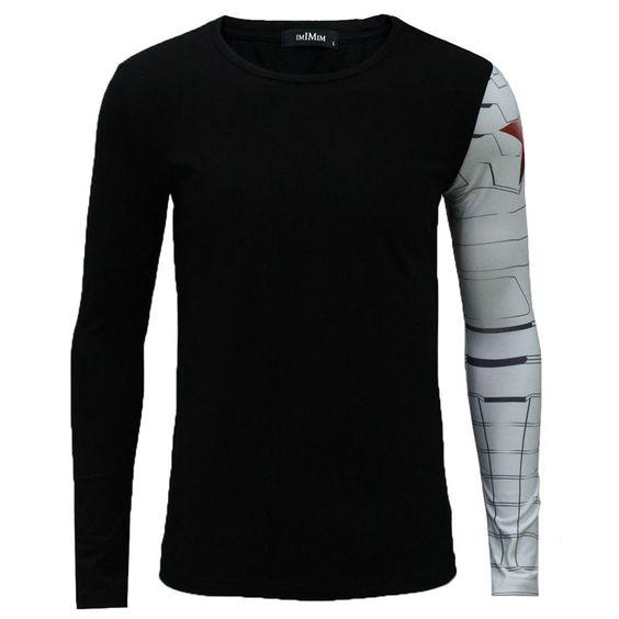 The Winter Soldier Tops Captain America Long Sleeve Men muscular Build T- Shirt #NoBrand #BasicTee