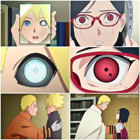 Boruto and Sarada seeing their eyes for the first time! ️ ...