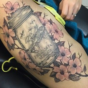 This elegant version. | 21 Mason Jar Tattoos That Are Surprisingly Awesome