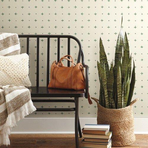Cross Stitch Wallpaper By Joanna Gaines Lelands Wallpaper Home Wallpaper Magnolia Homes Living Room Designs