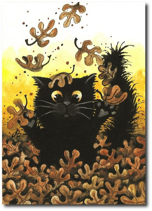 Autumn Leaves Fall Black Cat FurFace ArT   Limited by AmyLynBihrle: