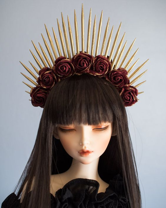 Dark Burgundy Red and Gold Halo Flower Crown by atomicsugar