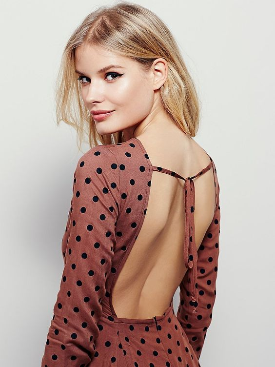 Fox Dress | American made swingy long sleeve mini dress with allover print and open back. Tie and zip closure at the back for easy fit.