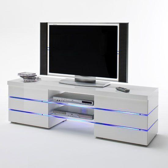 Glossy White Tv Stands Tv Dinding Minimalis Lemari