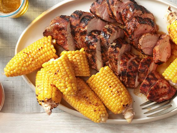 Grilled Pork Tenderloin With Corn on the Cob from FoodNetwork.com