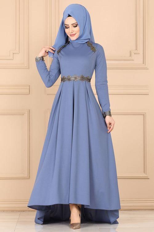 Modaselvim Elbise Varak Detay Pileli Elbise 4015ay342 Mavi Elbise Moda Stilleri Elbiseler