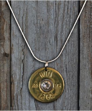 "SHOTGUN SHELL NECKLACE, 12 GA, GOLD, WITH CLEAR CRYSTAL ON 18"" STERLING SILVER CHAIN by Spent Rounds Designs; Shotgun Shell Jewelry 