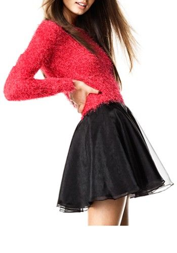 Black Mid Waist Above Knee Polyester Skirt - Romantic Dating - Trends