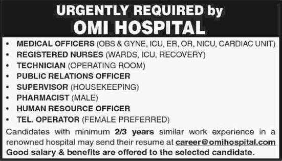 Omi Hospital Karachi Jobs December 2016 Medical Officers Nurses Pharmacist Others Latest Pharmacist Jobs In Pakistan Nurse