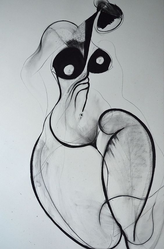 Carmel Jenkin, To Feel Incomplete, charcoal on paper, 81cm x 57cm