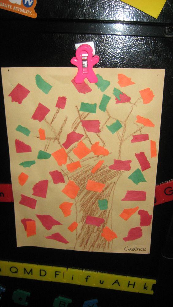 Fall Tree Tear Art