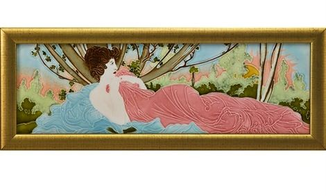 CARL LUBER & JOHANN VON SCHWARZ, Art Nouveau tile with reclining maiden, Germany, c. 1900, incised 4997, tile: 4.75 x 14.5 in.  |  SOLD $812 Rago Auction, June 8, 2013