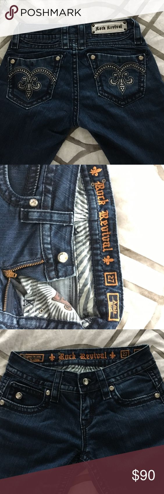 NWOT Rock Revival dark blue boot cut jeans size 27 These pants have never been worn and are in perfect condition, they come with the original pouch with an extra button inside, i'm open to offers and trades! Rock Revival Jeans Boot Cut