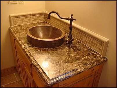 Photo of Installed in Vanity - Copper Sink: COPPER  SKIRTED VESSEL ROUND HAMMERED BATHROOM SINK